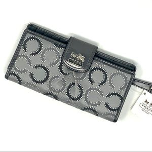 Coach silver and grey op art snap wallet NWT